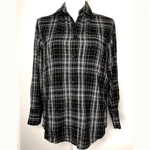 Alice + Olivia Size XS Plaid Button Front Shirt